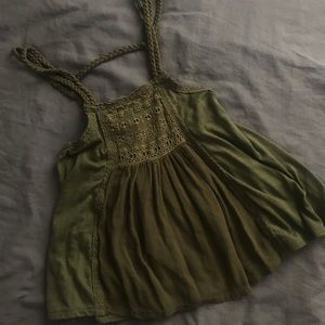 Green lace/crochet boho tank top